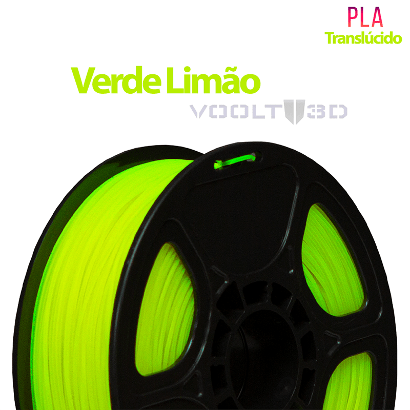 FILAMENTO IMPRESSORA 3D - VERDE LIMÃO TRANSLÚCIDO